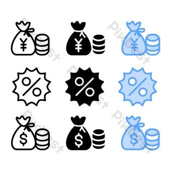 مجموعة أيقونة العملة المال مع ثلاثة أسلوب لمصباح وسائط التواصل الاجتماعي والعرض صور PNG قالب EPS