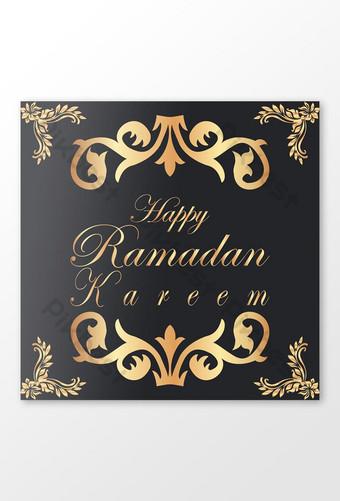 Happy Ramadan Kareem Desain Post Instagram Templat EPS