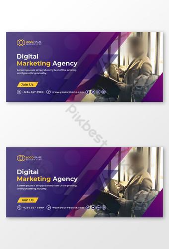 Penutup Facebook dan desain template bisnis digital Templat EPS