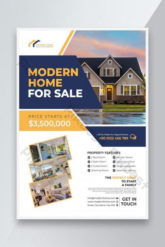 Template Flyer Real Estat atau Desain Flyer Real Estat dan Rumah Dijual Templat Flyer Templat EPS