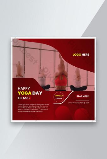 Template Media Sosial Set untuk Konten Promosi Yoga dengan Desain Template Warna Merah Templat EPS