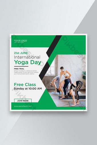 Hari yoga internasional Promosi kebugaran spanduk media sosial atau desain pos Templat AI