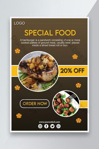 Conception spéciale de flyer de nourriture Modèle PSD
