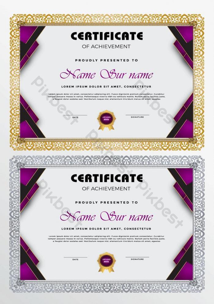 sertifikat template desain baru dengan modern