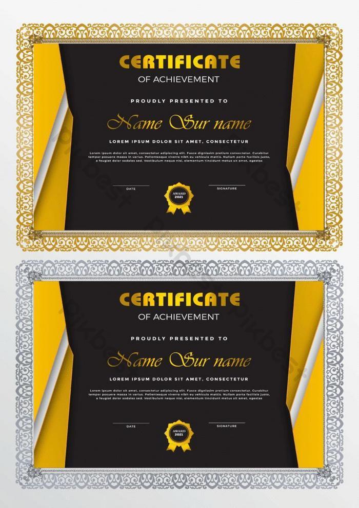 kuning sertifikat templat prestasi