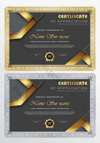 Elegancki certyfikat szablonu osiągnięć Szablon EPS
