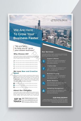 Desain Template Badan Pemasaran Flyer atau Desain Flyer Bisnis atau Desain Flyer Corporate Templat EPS