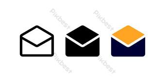 Icono de correo abierto con tres estilo para el cartel de redes sociales y presentación. Elementos graficos Modelo EPS