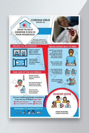 Chory w twoim domu Corona Virus Covid 19 Flyer EPS Szablon EPS