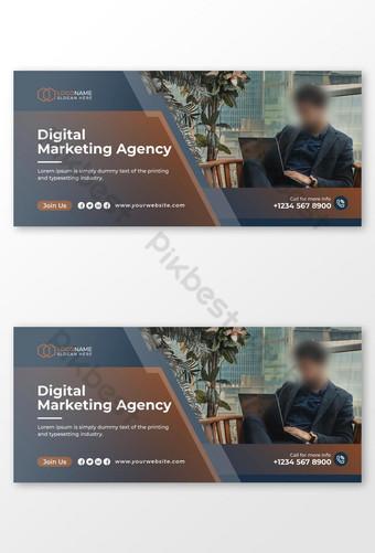 Penutup Facebook dan Desain Templat Pemasaran Digital Templat EPS