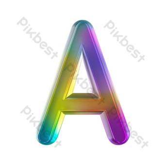 tekstur kaca berwarna-warni tiga dimensi huruf a Elemen Grafis Templat PSD