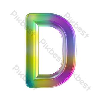 tekstur kaca berwarna-warni huruf tiga dimensi d Elemen Grafis Templat PSD