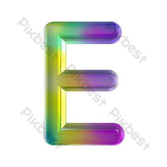 tekstur kaca berwarna-warni tiga dimensi huruf e Elemen Grafis Templat PSD