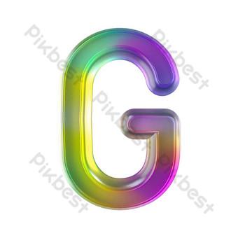 tekstur kaca berwarna-warni tiga dimensi huruf g Elemen Grafis Templat PSD