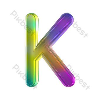 tekstur kaca berwarna-warni tiga dimensi huruf K Elemen Grafis Templat PSD