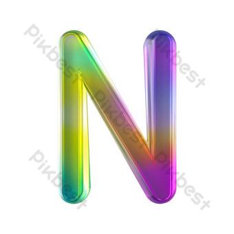 tekstur kaca berwarna-warni tiga dimensi huruf n Elemen Grafis Templat PSD