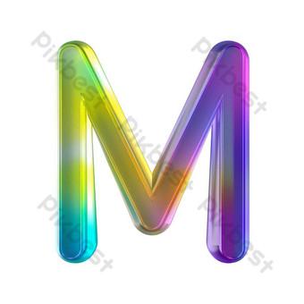 tekstur kaca berwarna-warni tiga dimensi huruf m Elemen Grafis Templat PSD