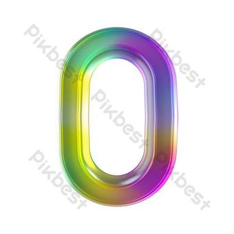 Tekstur kaca berwarna-warni huruf tiga dimensi o Elemen Grafis Templat PSD