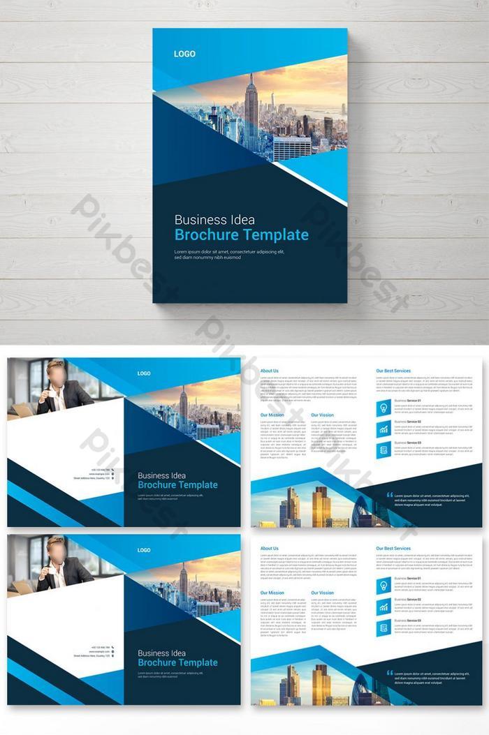 desain template brosur bifold perusahaan dengan tata letak gagasan bisnis