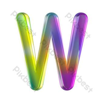 tekstur kaca berwarna-warni tiga dimensi huruf w Elemen Grafis Templat PSD