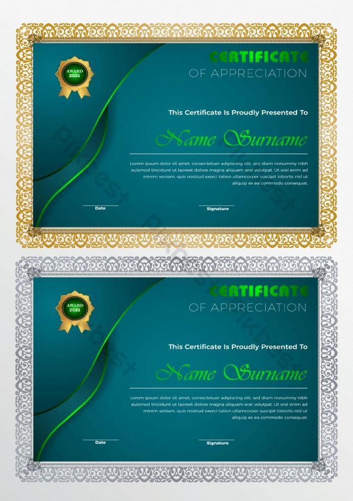 templat sertifikat diploma emas biru elegan