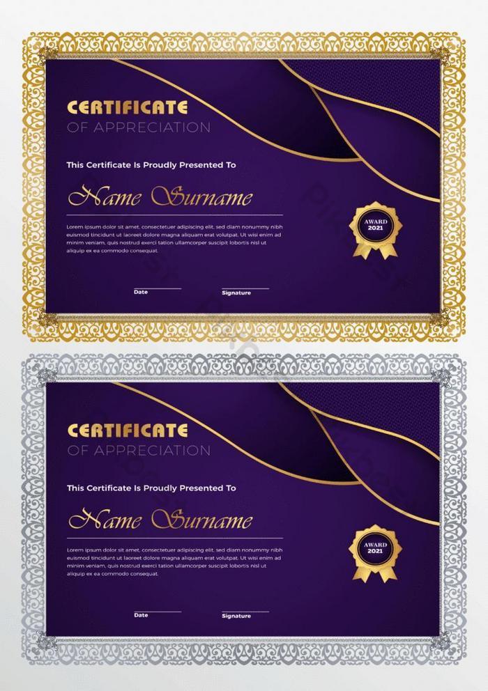 desain templat sertifikat klasik