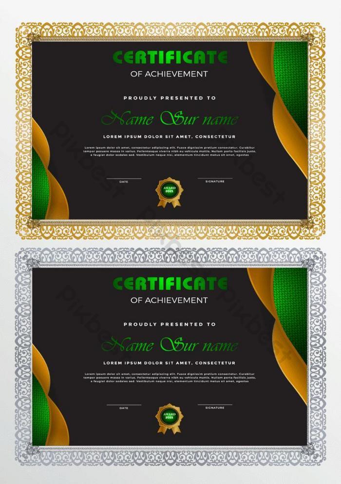 templat sertifikat dalam gaya hijau dan emas modern