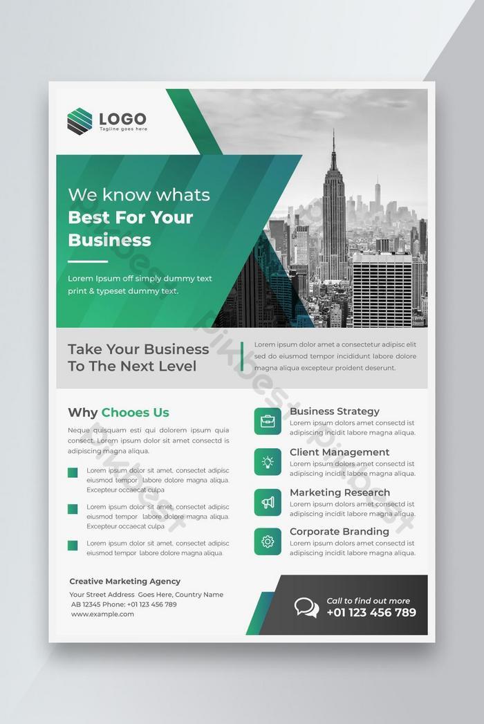 template desain flyer bisnis bersih modern kreatif dengan skema warna hijau