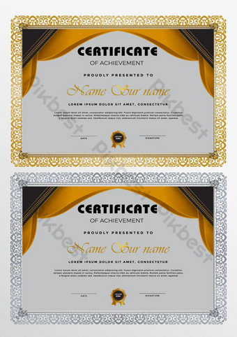 Templat sertifikat dengan desain geometris modern Templat EPS