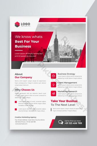 Plantilla de diseño de folleto de color rojo moderno creativo Modelo AI