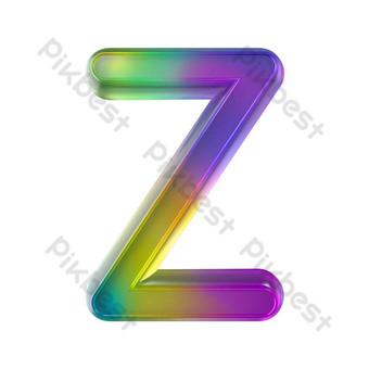 tekstur kaca berwarna-warni tiga dimensi huruf z Elemen Grafis Templat PSD