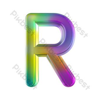 tekstur kaca berwarna-warni tiga dimensi huruf r Elemen Grafis Templat PSD