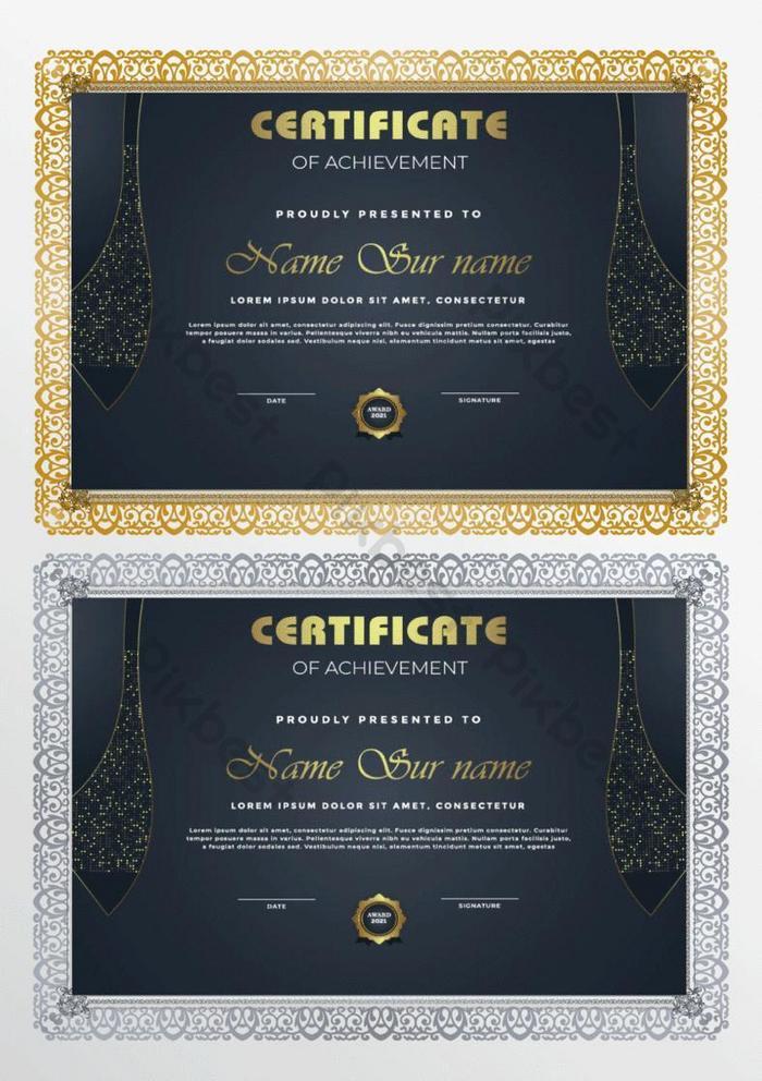 templat sertifikat modern dengan desain emas