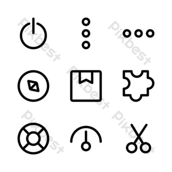 interface icon set with outline style for presentation, banner, and social media PNG Images Template EPS