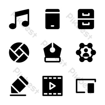 user interface icon set with glyph style for presentation, banner, and social media PNG Images Template EPS