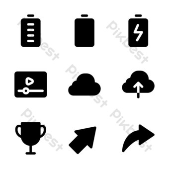interface icon set with glyph style for presentation, and social media PNG Images Template EPS