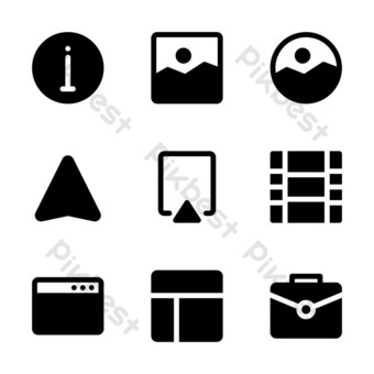 user interface icon set with glyph style for poster, and social media PNG Images Template EPS