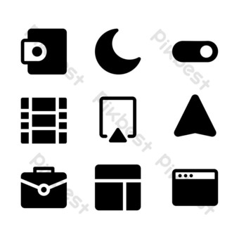 interface icon set with glyph style for poster, template, and social media PNG Images Template EPS