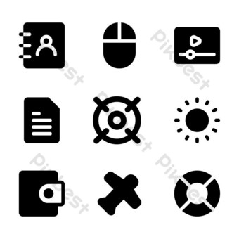interface icon set with glyph style for poster, and social media PNG Images Template EPS