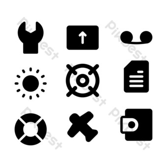 user interface icon set with glyph style for poster, template, and social media PNG Images Template EPS
