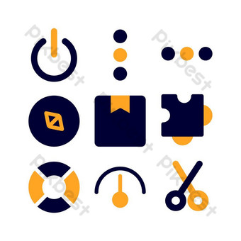 interface icon set with flat style for presentation, banner, and social media PNG Images Template EPS