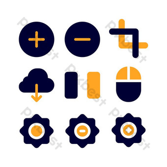 interface icon set with flat style for poster, and social media PNG Images Template EPS