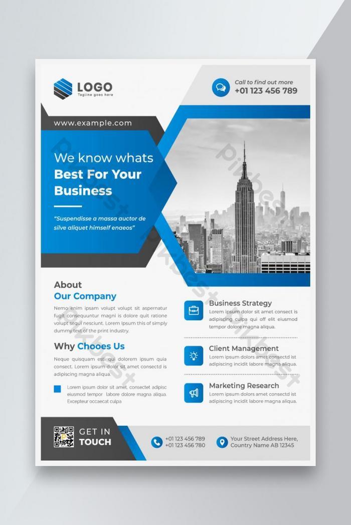 skema warna biru bersih modern kreatif templat business business flyer