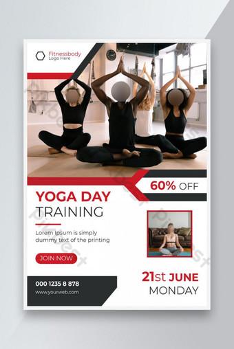 International yoga day training fitness promotion flyer Template EPS
