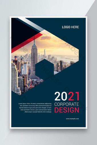 Desain template sampul buku perusahaan dengan tata letak penutup laporan tahunan Templat EPS