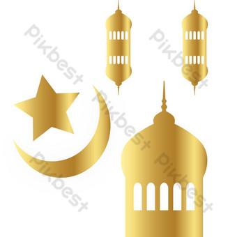 Złoty element Ramadan png i wektor Elementy graficzne Szablon AI
