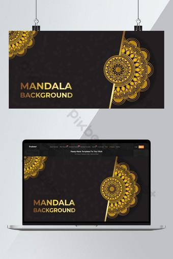 الأزهار الفاخرة ماندالا خلفية آثار اللون الذهبي خلفيات قالب AI