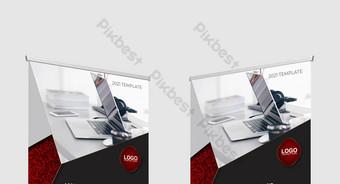 Steado de negocios abstracto rojo enrolla el diseño de la bandera Modelo EPS