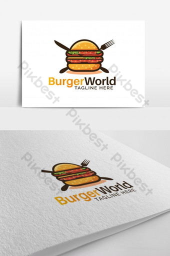 Burger House Vector Logo Design Modelo EPS