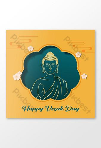 Happy Vesak Day or Buddha Purnima Greeting Social Media Banner Illustration Template AI